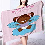 AuraiseHome Extra Large Bath Towel Baptism Boy Christening Striped Dotted Background Christian Rel Easy care machine wash L39.4 x W19.7 INCH