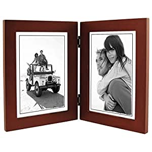 Malden International Designs Linear Classic Wood Picture Frame, Double Vertical, 2-5x7, Walnut