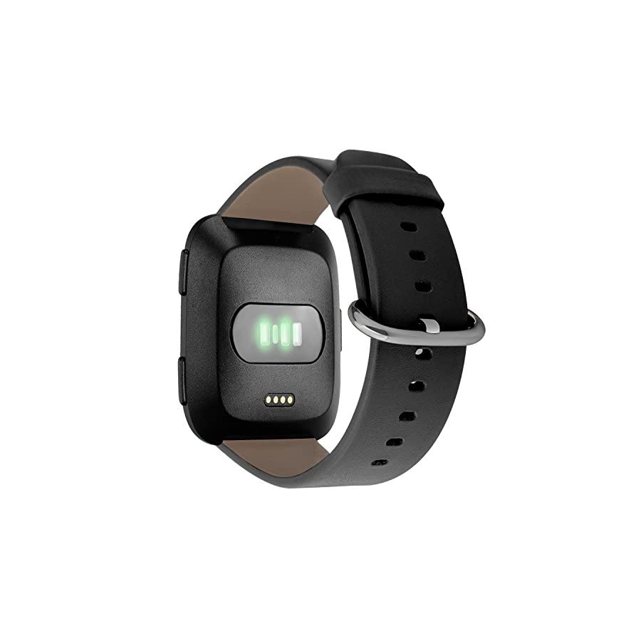Fitbit Versa Leather Bands, Genuine Leather Strap Replacement Wrist Band for Fitbit Versa Fitness Smart Watch Women men