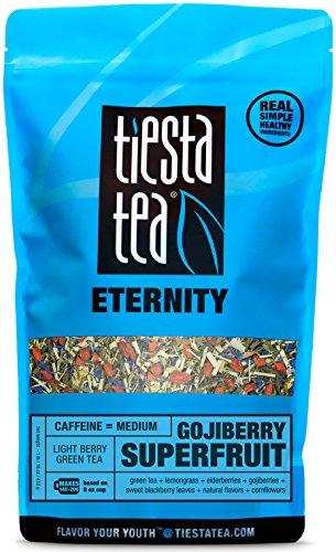 Green Tea Goji Berry (Light Berry Green Tea | GOJIBERRY SUPERFRUIT 1 Lb Bag by TIESTA TEA | Medium Caffeine | Loose Leaf Green Tea Eternity Blend | Non-GMO)