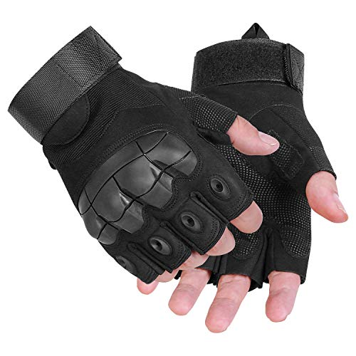 (Ftiier Tactical Gloves Military Rubber Hard Knuckle Gloves Fingerless/Half Finger Outdoor Gloves for Cycling)
