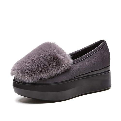 Mocasines de Mujer Zapatos de Enredadera Zapatos de Plataforma Plana Resbalón en los Zapatos de Ocio Mujer Suela Gruesa Mocasines de elevación: Amazon.es: ...
