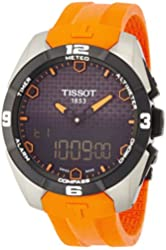 Tissot Men's Quartz Titanium and Silicone Casual Watch, Color:Orange (Model: T0914204705101)