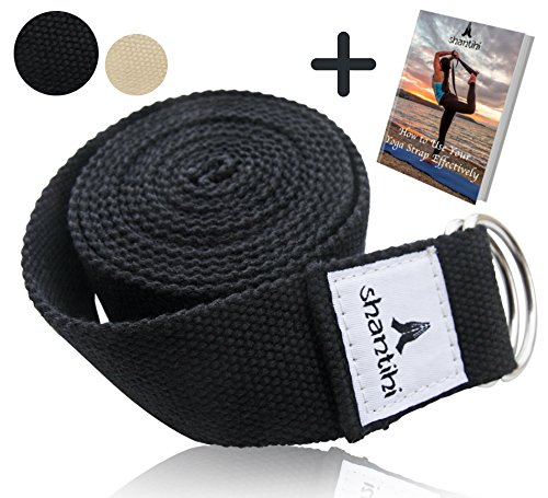 Shantihi Yoga Strap for Stretching - Super Soft Adjustable Poly Cotton Stretch Strap with D-Ring Buckle. Yoga Accessories for Exercise, Pilates, Fitness, Therapy. 8Ft. Bonus eBook. (Black, 8ft)