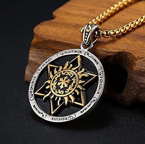JAJAFOOK Punk Rock Stainless Steel Hexagram Fire Totem Pendant Necklace 24 inch Chain