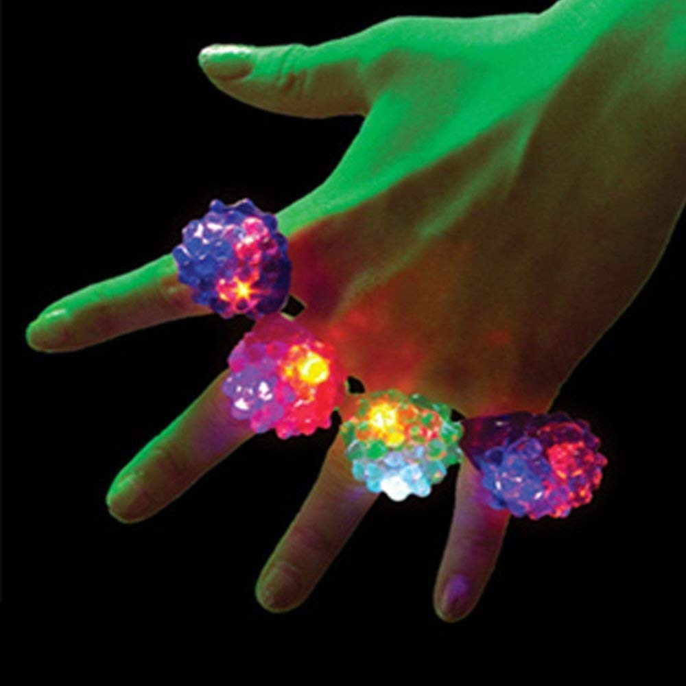 VirtualSurround 100 Pack Light-Up Jelly Bumpy Rings Flashing LED Bubble Rave Party Color Favors