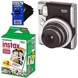 Fujifilm Instax Mini 90 Neo Classic Instant Film Camera (Black) + Fujifilm Instax Mini Instant Film (20 sheets) + HeroFiber Ultra Gentle Cleaning Cloth
