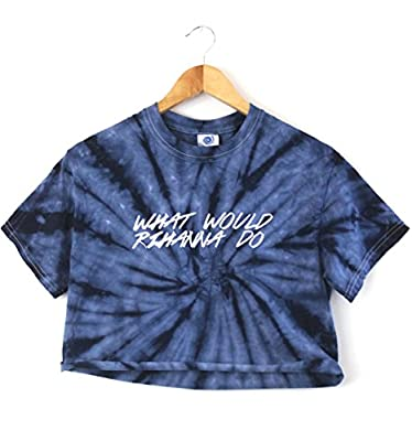 What Would Rihanna Do Navy Blue Tie-Dye Graphic Crop Top