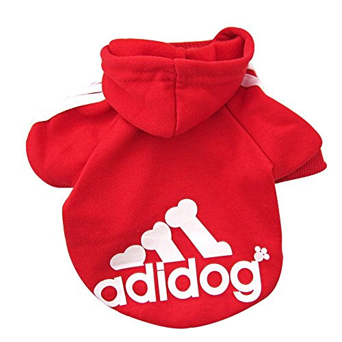 Rdc Pet Fleece Dog Hoodies, Apparel, Adidog Basic Hoodie Sweater, Cotton Jacket Sweat shirt Coat for Small Dog & Medium Dog & Cat (XXL, Red)