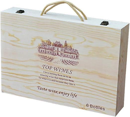 Znx Caja de Regalo de Vino Decorativa de Madera 6 Botellas for ...