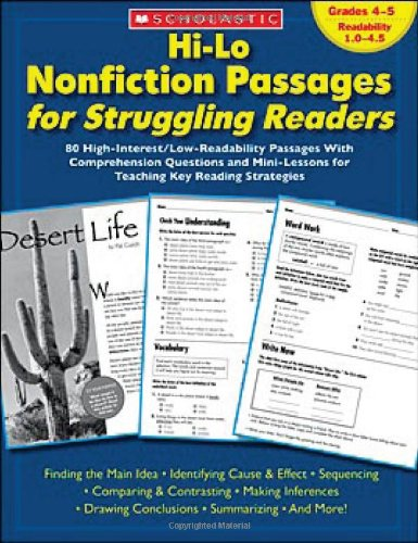 Hi-Lo Nonfiction Passages for Struggling Readers: Grades 45: 80 High-Interest/Low-Readability Passages With Comprehension Questions and Mini-Lessons for Teaching Key Reading Strategies
