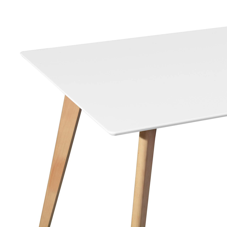 FurnitureR Dining Table Rectangular Top Dining Desk 44'' x 28'' Leisure Cofffee Table 2-4 People Wood Beech White Kitchen Desk by FurnitureR (Image #7)