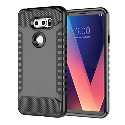 LG V30 Case, Classic Dual Layer Shockproof Anti-Scratch Soft TPU Bumper with Hard PC Protective Phone Case for LG V30/V30 Plus/V30S (2017)(Black)