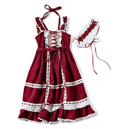 (Lolita Dress Girls Red Lolita Dresses JSK Lolita Skirt for Women Classic Dress Jumper Skirt Sweet Love Lolita with)