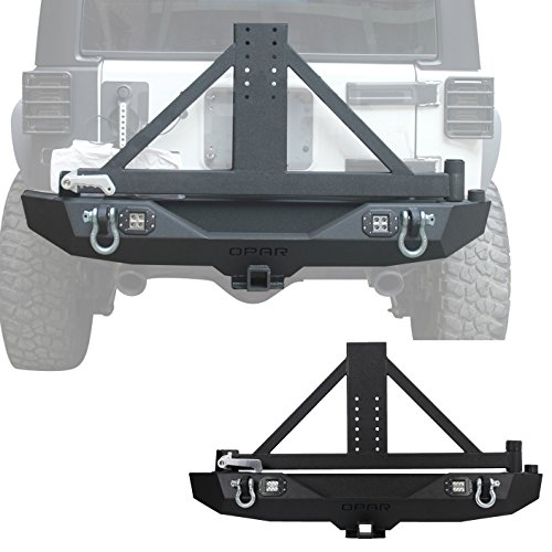 Hooke Road 2007-2018 Jeep Wrangler JK Different Trail Rear Bumper w/Tire Mounting Rack & 2 x 18W LED Lighting
