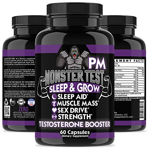 Angry Supplements Monster Test PM Testosterone Booster Plus Sleep Aid-Jack  T-Levels All