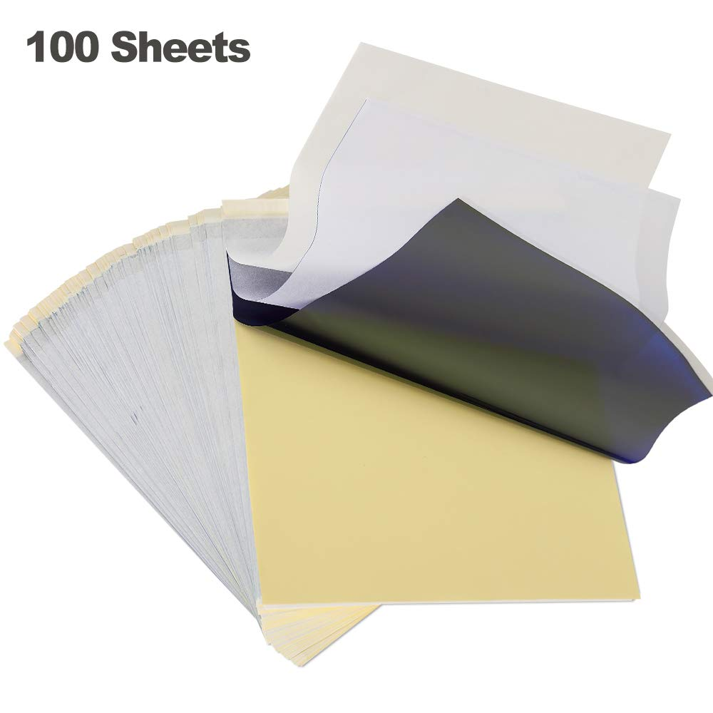 SLSY Tattoo Transfer Paper 100 Sheets, Thermal Stencil Paper for Tattooing, Tattoo Transfer Kit, DIY Tattoo Tracing Paper to Skin, A4 Size