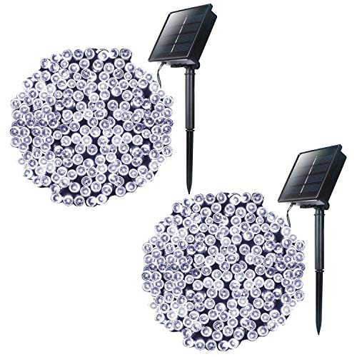 Outdoor Solar String Lights with 8 Light Modes, 72 Foot 200 LED Solar Powered Starry Fairy Waterproof Lights for Wedding Xmas Patio Lawn Party Decoration, 2 Pack (Pure White)