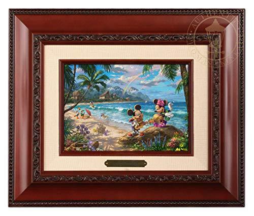 Thomas Kinkade Studios Disney Mickey and Minnie in Hawaii Brushwork (Brandy Frame) ()
