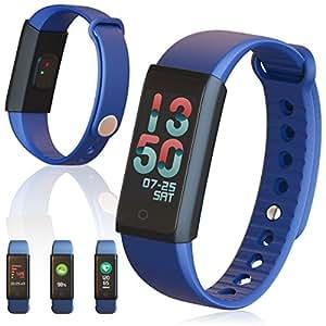Indigi Waterproof Bluetooth Sport Fitness Tracker Smart Bracelet Watch Colorful Screen - Blue
