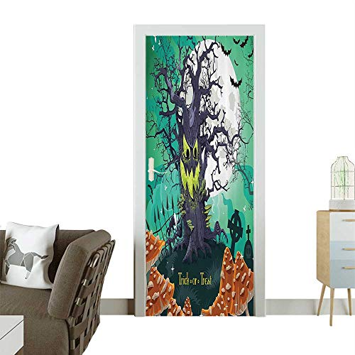 Door Sticker Wall Decals Trick or Treat Halloween Theme Dead Forest with Spooky Tree GravesMushrooms Easy to Peel and StickW36 x H79 INCH ()