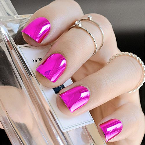 24 Piece Fashion Metallic Nail Mirror Surface False Nails Long Size Silver Color In Simple Package rose red short ()