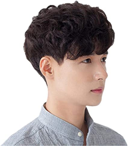 Amazon Com Wig Stylish Men S Wigs Korean Men S Hair Handsome Boys Short Curly Hair Fluffy Realistic Curly Hair Wigs Sports Outdoors