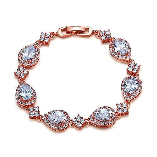 - EVER FAITH Women's Glamour CZ Wedding Ball Waterdrop Floral Tennis Bracelet Clear Rose Gold-Tone