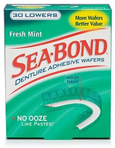 SEA-BOND Denture Adhesive Wafers Lowers Fresh Mint 30 Each (Pack of 4)