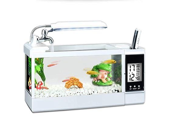 Tanque De Peces De Acuario De Múltiples Funciones De Escritorio Mini Aquarium Landscaping Tanque De Peces De Escritorio,Black: Amazon.es: Hogar