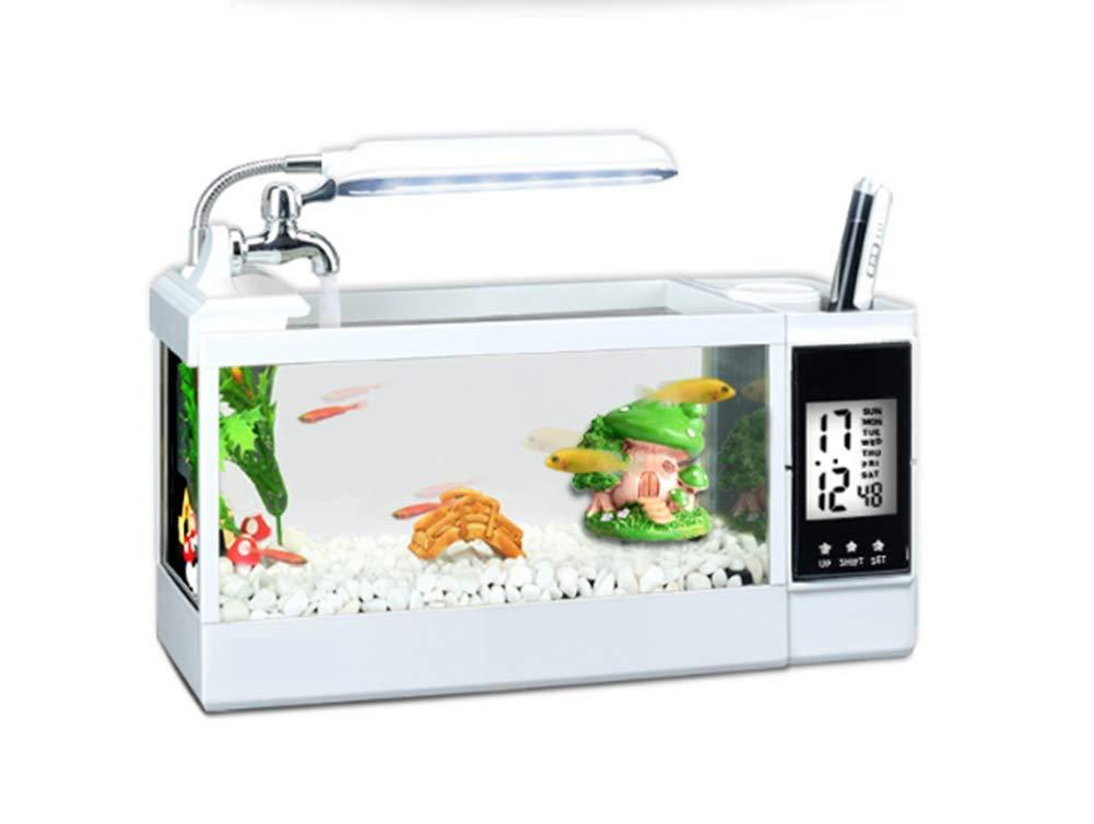 Ecological Aquarium Box Serbatoio Di Pesci Acquario Multifunzionale Desktop Mini Acquario Paesaggistico Serbatoio Di Pesci Desktop,bianca
