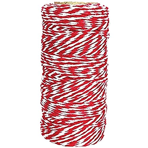 Just Artifacts ECO Bakers Twine 110yd 12Ply Striped Cherry Red - Decorative Bakers Twine for DIY Crafts and Gift Wrapping