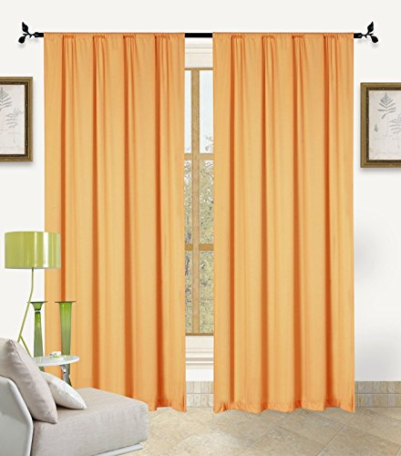 Orange Bella Light Weight Jersey Curtain Panels 60 X 90 Two Pack by Window Treatment