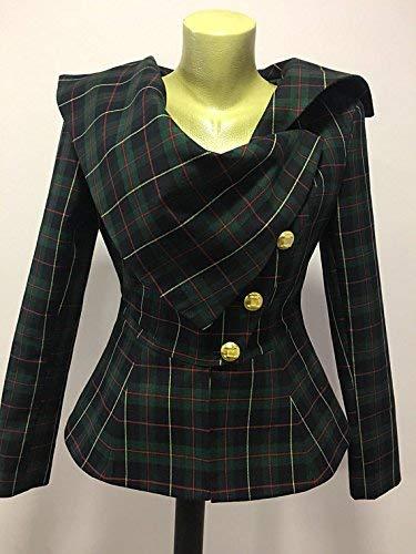 (Plaid jacket blazer, Tartan jacket blazer, Steampunk Gothic Punk Grunge Jacket for Women, Black Watch Scottish Tartan Plaid Kilt Jacket)