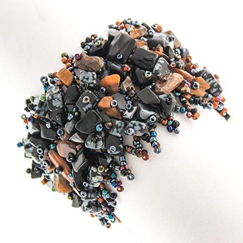 2'' Wide Mixed Tiger Eye Onyx GEM Chips Glass Seed Beads Handmade Bracelet YE-2278