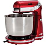 Dash Stand Electric Mixer for Everyday Use w/ 6 Speed and 3 qt Stainless Steel Mixing Bowl, Dough Hooks & Mixer Beaters - DCSM250RD (Certified refurbished)