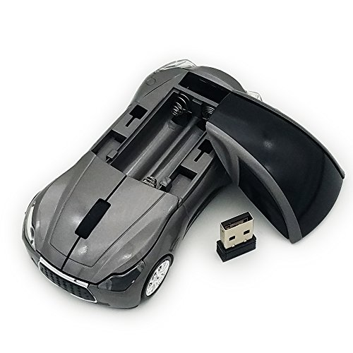 TDRTECH Wireless Car Mouse 2.4Ghz 3D DPI 1600 Cool Sport USB Gaming Mouse Mice for PC Computer Laptop Notebook Gray by TDRTECH (Image #2)