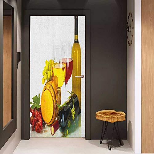 Onefzc Soliciting Sticker for Door Wine Composition with Small Barrel Two Types of Grapes Drinks Beverage Product Mural Wallpaper W31 x H79 Red Yellow Pale Green