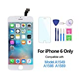 For iPhone 6 Screen Replacement 4.7'', LCD Digitizer 3D Touch Display Assembly Set Compatible with Model A1549, A1586, A1589, Free Repair Tool Kit (White)