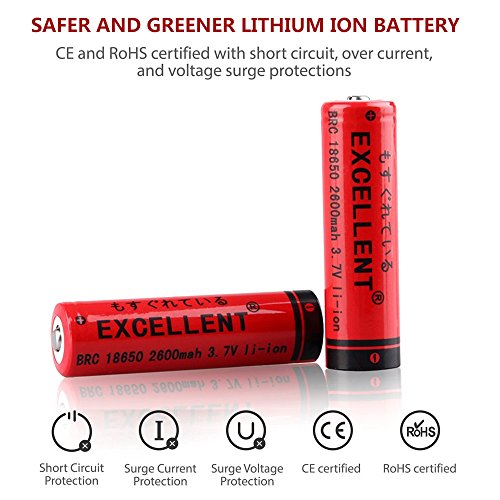 18650 Battery and Charger, EXCELLENT 2 Pack 3.7V 18650 lithium ion Rechargeable Batteries with 18650 16340 CR123A 14500 Charger by Excellent (Image #1)