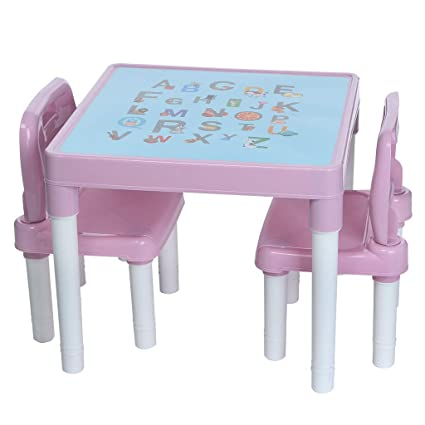 Etonnant Amazon.com: Lcyus Childrenu0027s Study Table Set, Plastic Kids Table And 2  Chairs Set For Boys Or Girls Toddler (Pink): Kitchen U0026 Dining