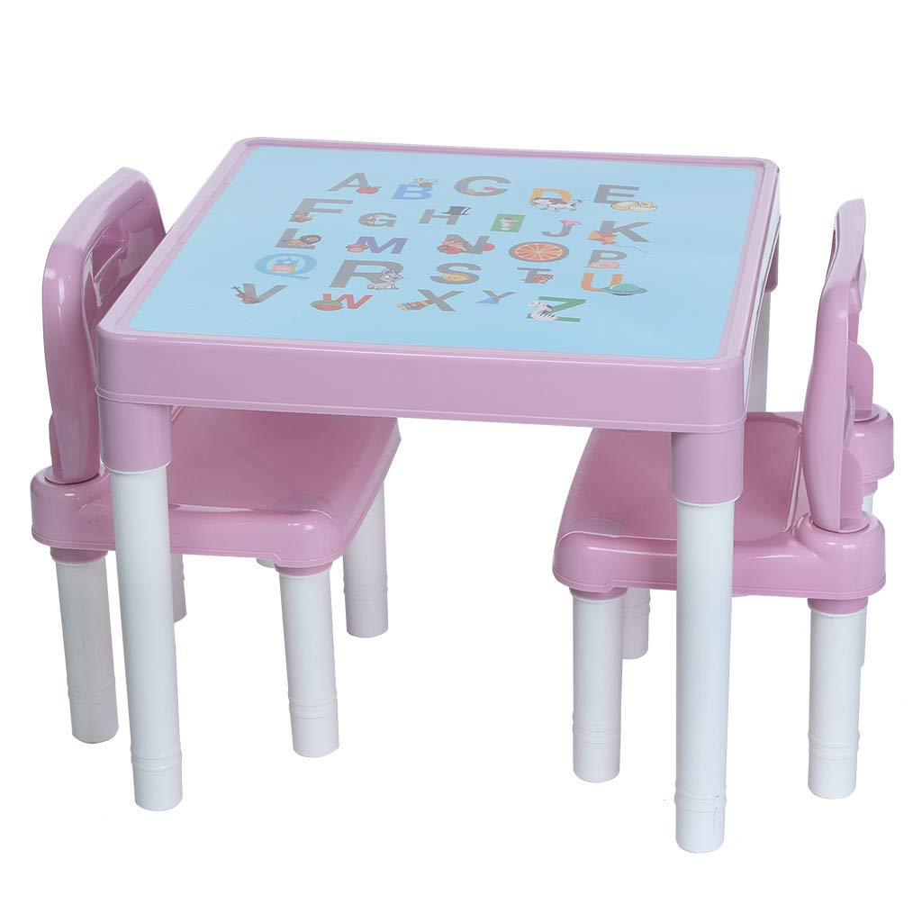 US Fast Shipment Quaanti Kids Table and Chairs Set,Toddlers Boys Girls Activity Craft Table and 2 Chairs Set,Children's Study Table and Chair Set,Baby Painting Table Building Brick Table (Pink)