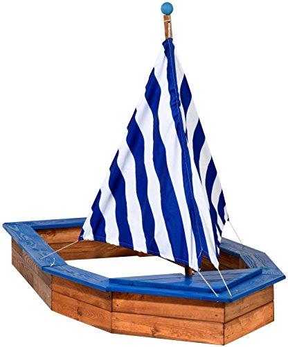 dobar-94600FSC-Sandkasten-Schiff-aus-Holz-gro-Rumpf-Sandkiste-Boot-fr-Kinder-XXL-XL-Outdoor-180-x-96-x-125-cm-FSC-Holz-weiblau