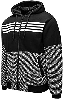 Mens Casual Knitted Cardigan Zip-up Sweaters Slim Fit Wide Stripes Hoodie Keep Warm Pockets