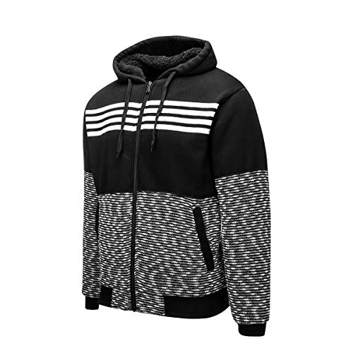 Men's Casual Knitted Cardigan Zip-up Sweaters Slim Fit Wide Stripes Hoodie Keep Warm Pockets Black Large