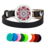 Efantina Aromatherapy Essential Oils Diffuser Bracelet Leather Band, 25mm 316L Stainless Steel Perfume Locket Jewelry with 9 Color Refill Cotton Pads and Gift Box