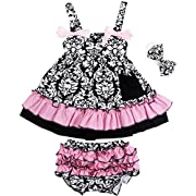 Jubileens 2 PCS Baby Toddlers Infant Girls Cotton Cute Dress+ Underpants Outfit Sets (L(18-24 months), Pink)