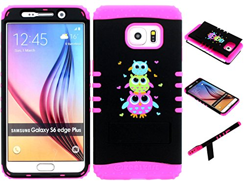 Galaxy S6 Edge Plus Case, Wireless Fones TM Kickstand Tough Armor Cover Cute Owls Snap on Over Pink Skin for Galaxy S6 Edge Plus (Koolkase Samsung Galaxy S4 Case)