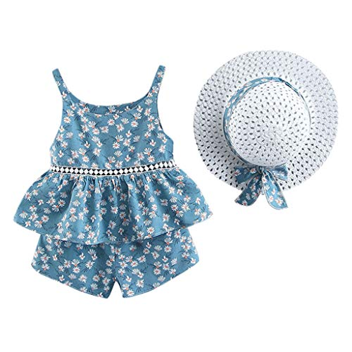 Youmymine Toddler Baby Kids Girls Sleeveless Tops Floral Fruit Strap Tops + Shorts Outfits + Hat Casual Outfits Set (2-3 Years, Light Blue) ()