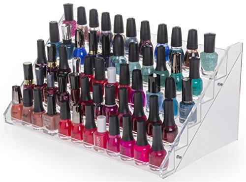 Displays2go Estante acrílico escalonado para esmaltes de uñas, transparente, 5niveles